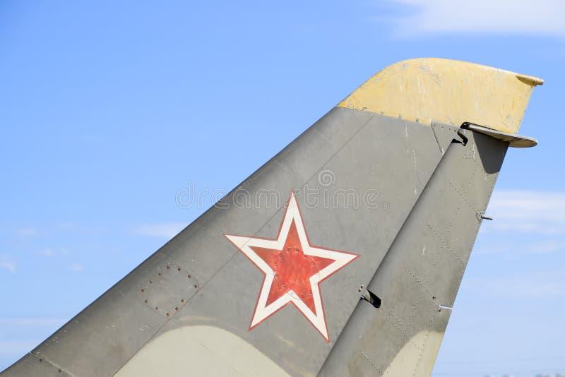 La barre du combattant Étoile sur la queue de l'avion photos stock
