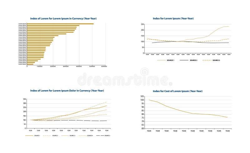 La barre et calibres d'affaires de graphe linéaire dirigent l'illustration illustration libre de droits