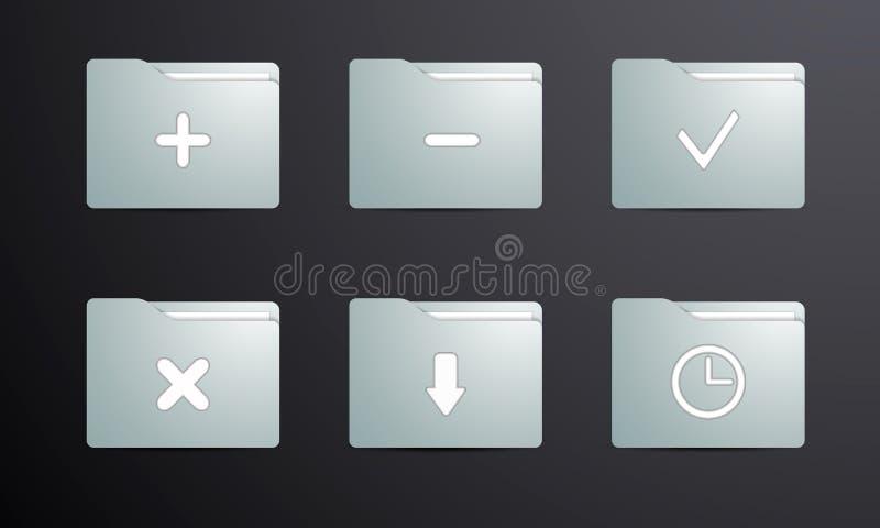 La barre porte-outils des dossiers pour des achats et des programmes en ligne image stock