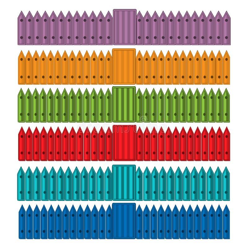 La barrera colorida de la cerca fijó para el jardín de la protección, casa, granja Vector común libre illustration