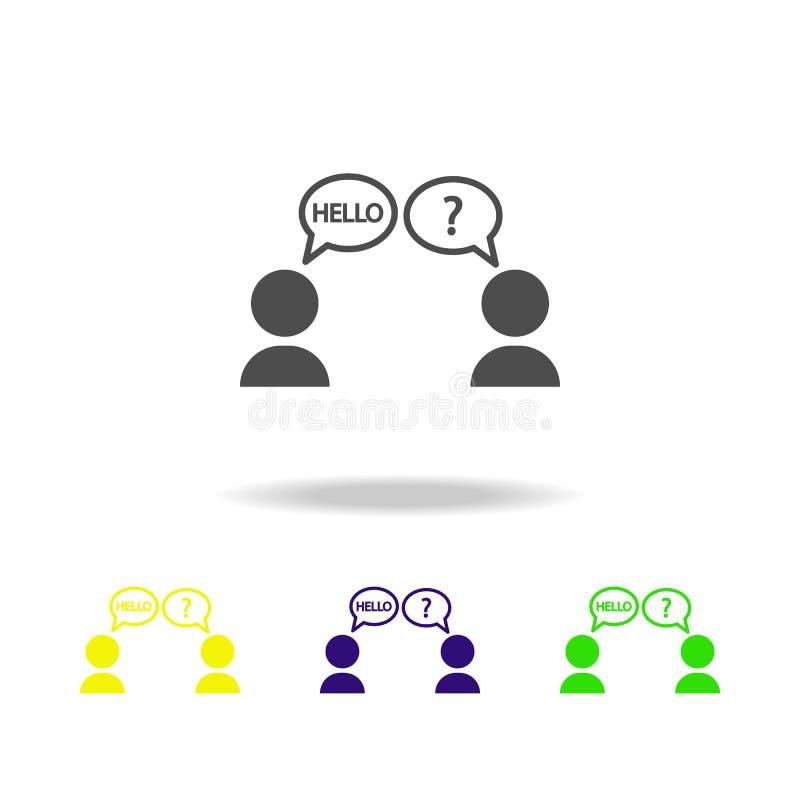 la barrera linguística coloreó iconos Elemento del ejemplo superado del desafío Muestras e icono de la colección de los símbolos  ilustración del vector