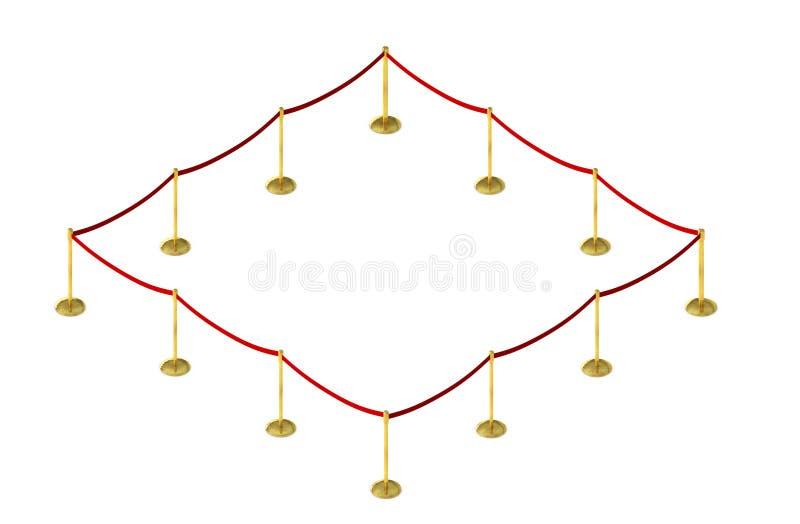 La barrera móvil de la cerca con la alfombra roja de la correa y del terciopelo coloca isola libre illustration