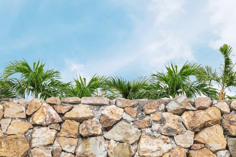 La barrière en pierre de brique de plan rapproché avec le palmier et le ciel bleu brouillés a donné au fond une consistance rugue images stock