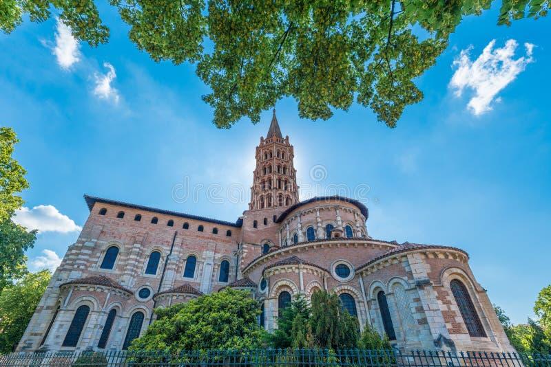 La basílica de St Sernin en Toulouse, Francia imagen de archivo libre de regalías