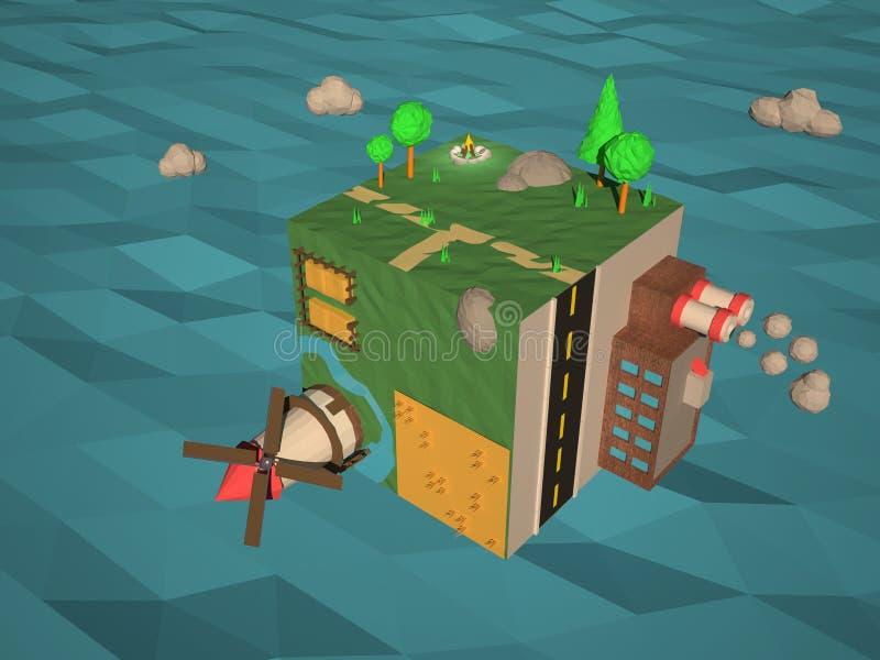 La bas poly terre, usine, forêt et moulin de cube photos stock