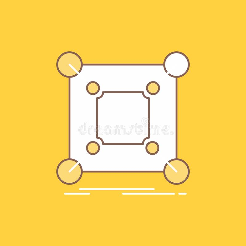 La base, centre, connexion, données, ligne plate de hub a rempli icône Beau bouton de logo au-dessus de fond jaune pour UI et UX, illustration stock