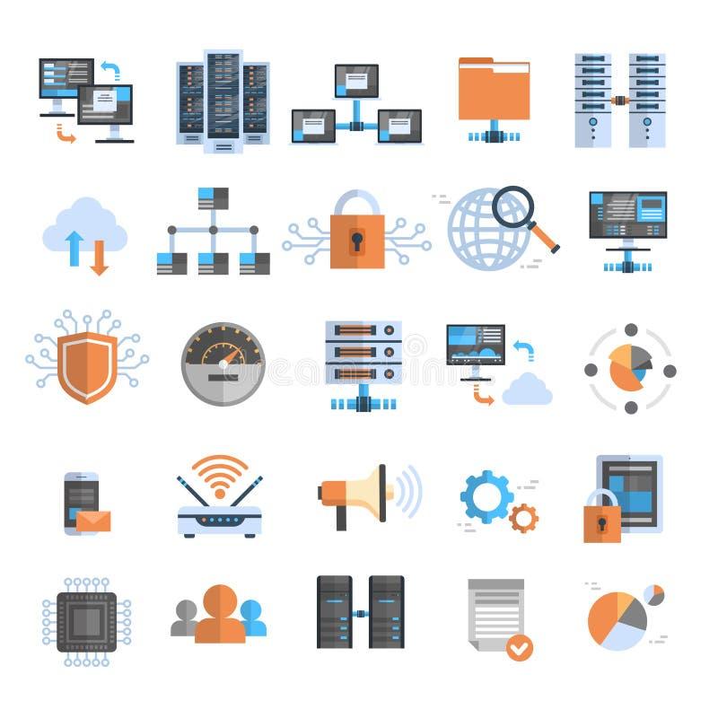La base de datos fijada los iconos de la protección del ordenador de la nube de la conexión de datos sincroniza concepto de la te libre illustration