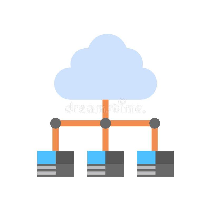 La base de datos de servidor de recibimiento de la conexión del ordenador del icono del centro de datos de la nube sincroniza tec libre illustration