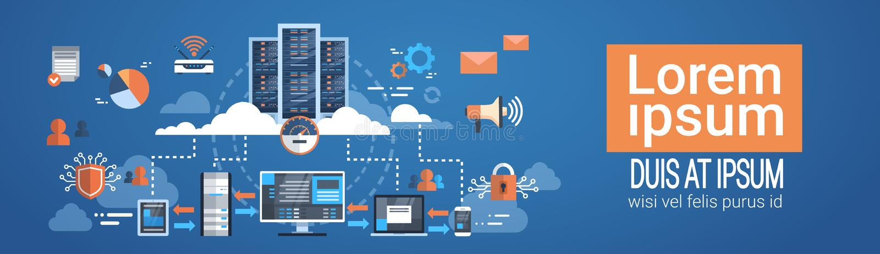 La base de datos de servidor de recibimiento de la conexión del ordenador de la nube del centro de datos sincroniza tecnología stock de ilustración
