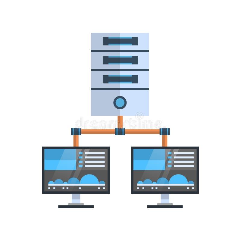La base de datos de servidor de recibimiento de la conexión del ordenador de la nube del icono del centro de datos sincroniza tec ilustración del vector