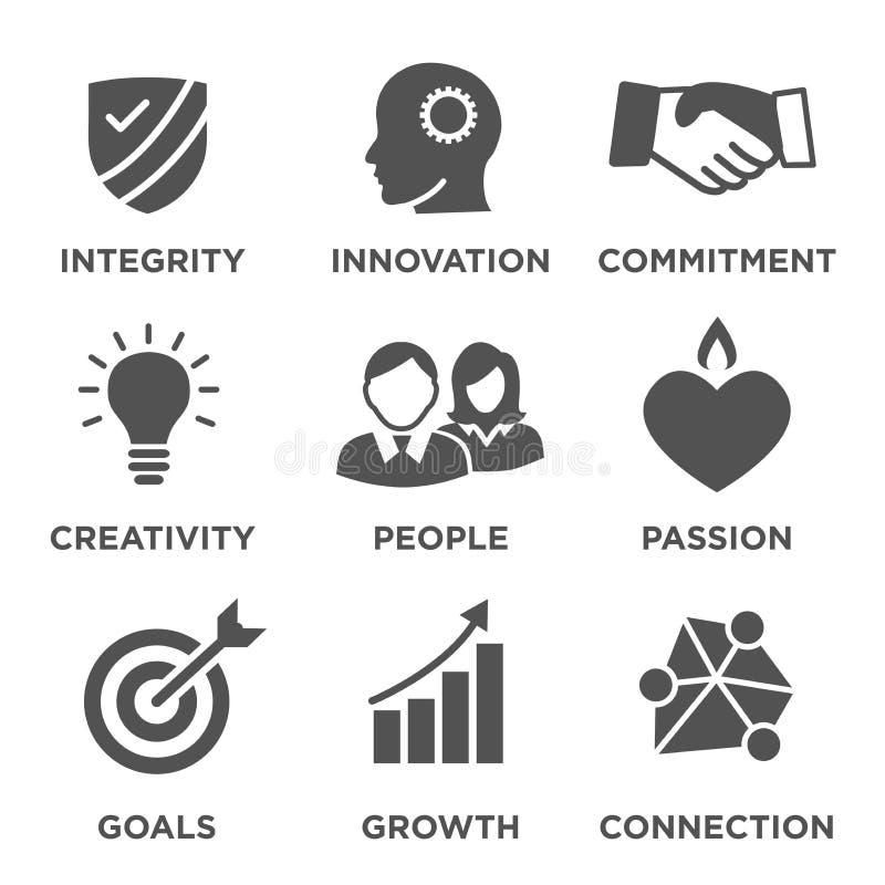 La base de la compañía valora iconos sólidos ilustración del vector