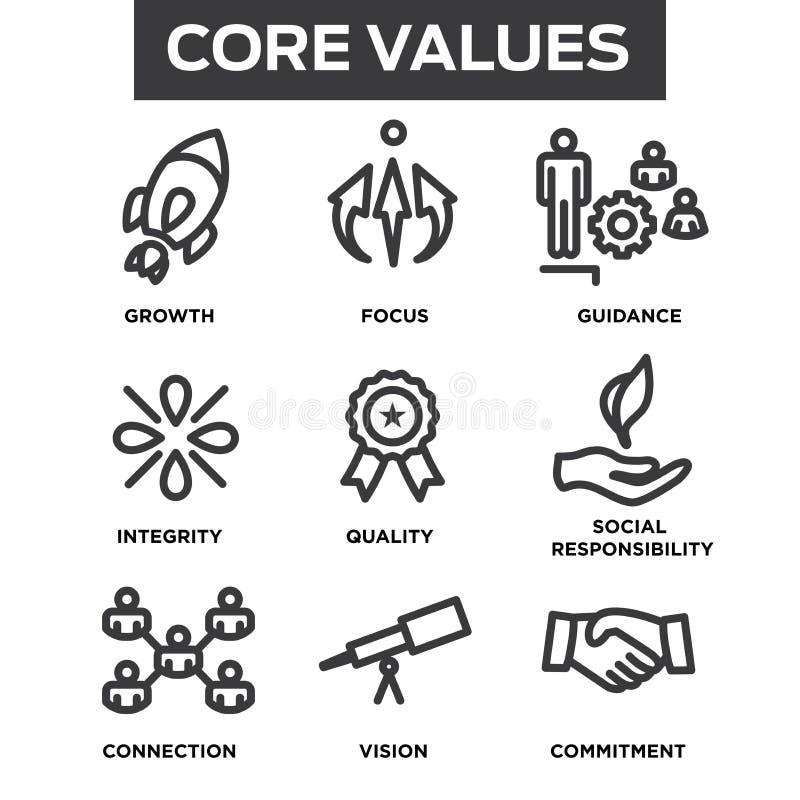 La base de la compañía valora los iconos del esquema para los sitios web o Infographics libre illustration