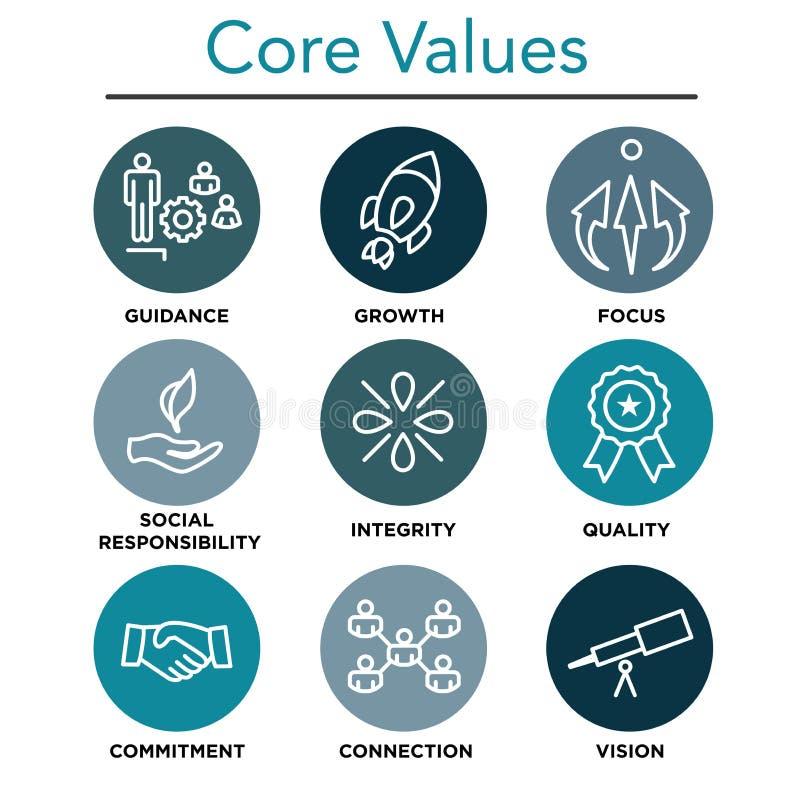 La base de la compañía valora los iconos del esquema para los sitios web o Infographics stock de ilustración