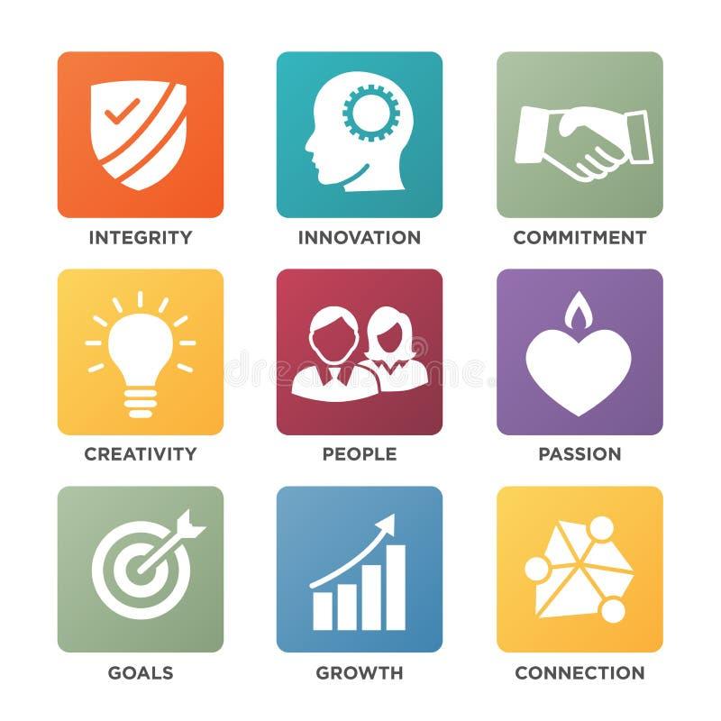 La base de la compañía valora los iconos sólidos cuadrados para los sitios web o Infographics ilustración del vector