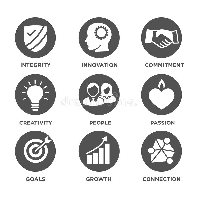 La base de la compañía valora los iconos sólidos para los sitios web o Infographics libre illustration
