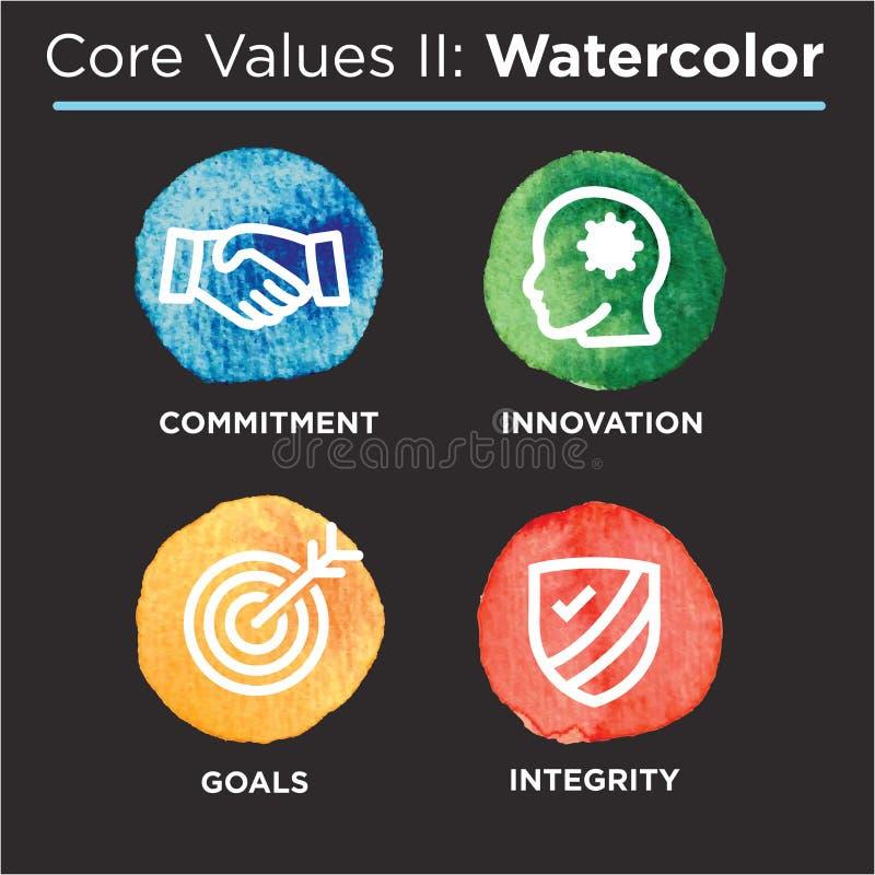 La base de la compañía valora los iconos sólidos para los sitios web o Infographics ilustración del vector