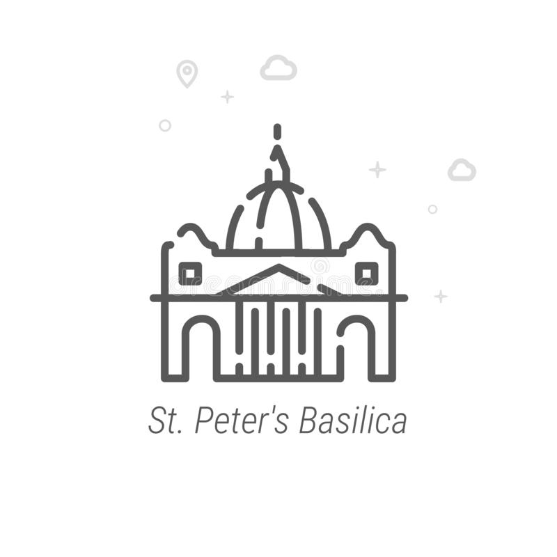 La basilique de St Peter, ligne icône, symbole, pictogramme, signe de vecteur de Rome Géométrique abstrait Course Editable illustration stock