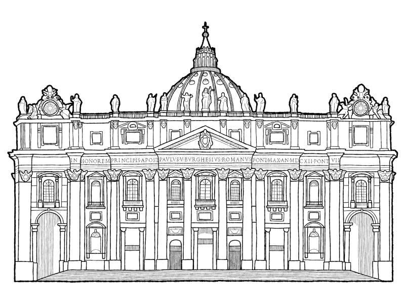 La basilique de St Peter, Ville du Vatican, Italie : Art tiré par la main de bande dessinée de point de repère d'illustration de  illustration de vecteur