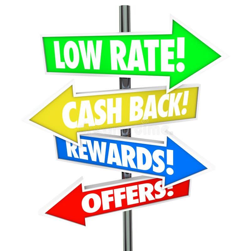 La basse flèche de Rate Cash Back Rewards Offer signe la meilleure carte de crédit De illustration stock