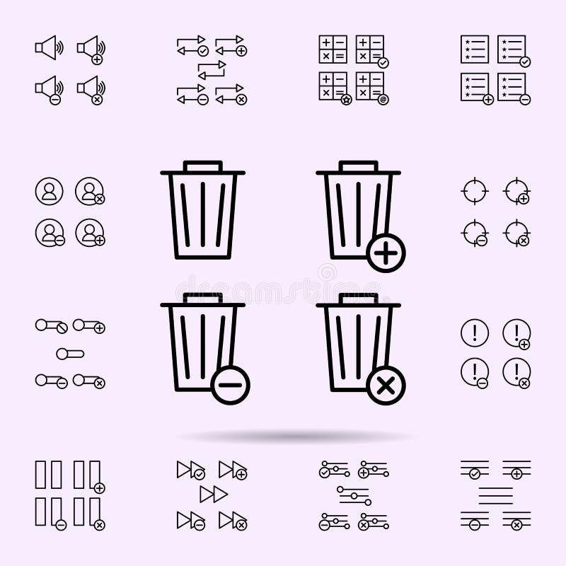 la basura, caja, m?s, quita, icono del signo de menos sistema universal de los iconos del web para el web y el m?vil ilustración del vector