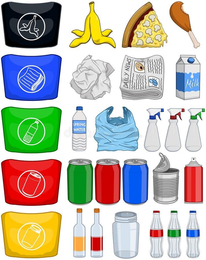 La basura de papel de las latas de las botellas de la comida recicla el paquete fotografía de archivo