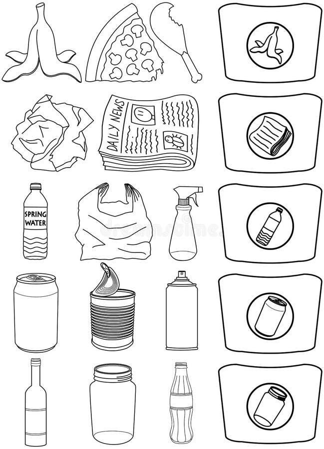 La basura de papel de las latas de las botellas de la comida recicla el paquete Lineart imagen de archivo