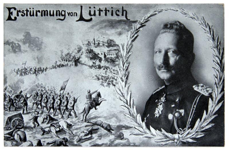 La bataille de Liège et de Kaiser Wilhelm images libres de droits