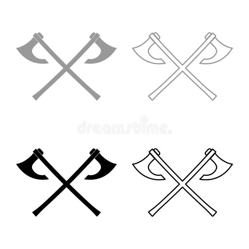 La bataille deux diminue l'image simple de couleur d'ensemble d'icône de Vikings d'illustration de style plat noir gris d'ensembl illustration stock