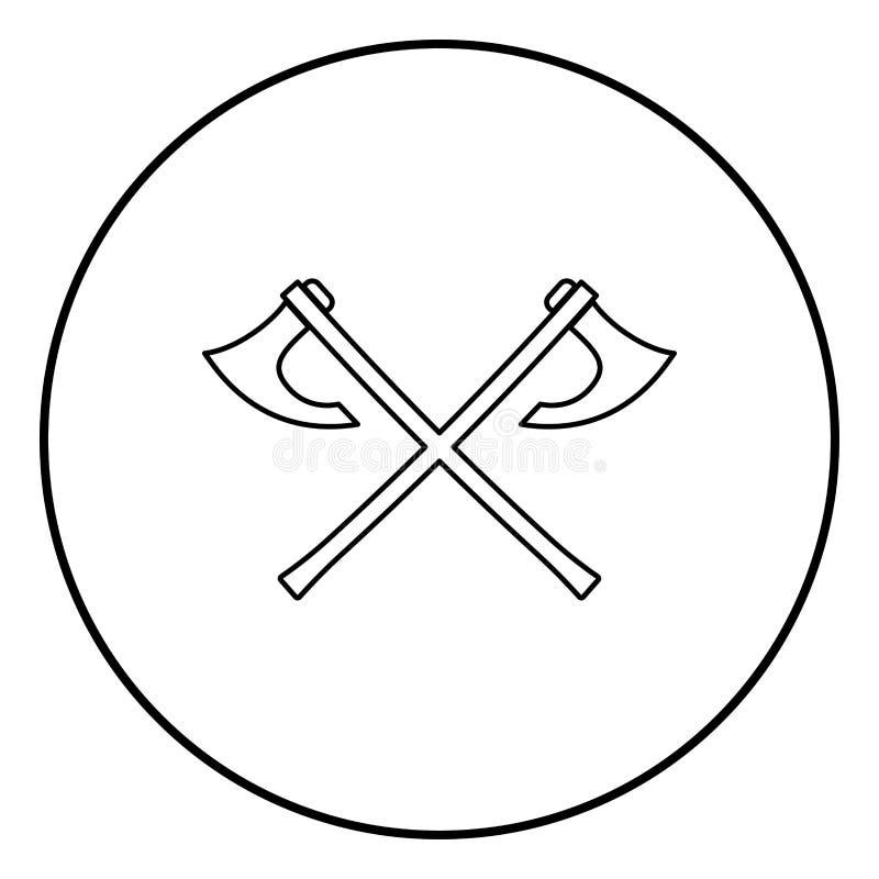 La bataille deux diminue le vecteur noir de couleur d'ensemble d'icône de Vikings dans l'image plate de style d'illustration rond illustration stock