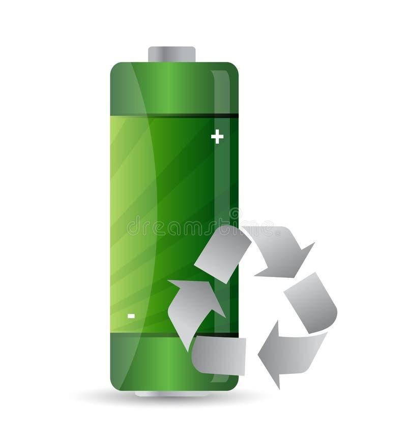 La batería con recicla la muestra stock de ilustración