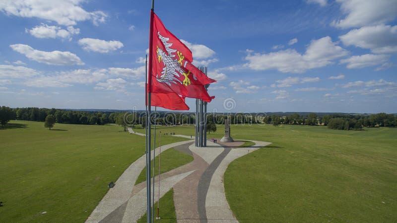 La battaglia di Grunwald, Polonia, 08 2016, METRAGGIO AEREO immagine stock