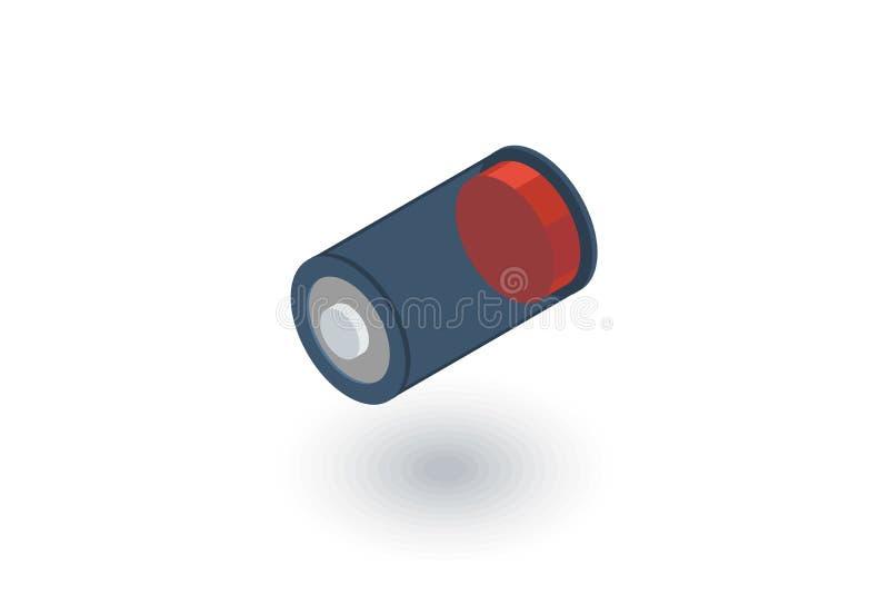 La batteria bassa, carica l'icona piana isometrica vettore 3d illustrazione vettoriale