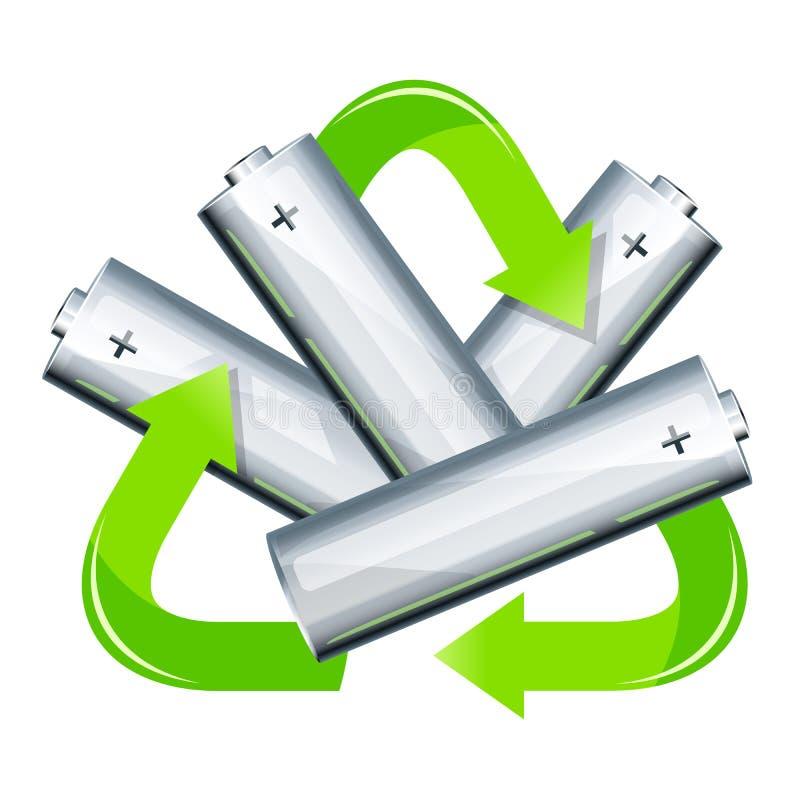 La batteria ricicla l'illustrazione di concetto illustrazione vettoriale