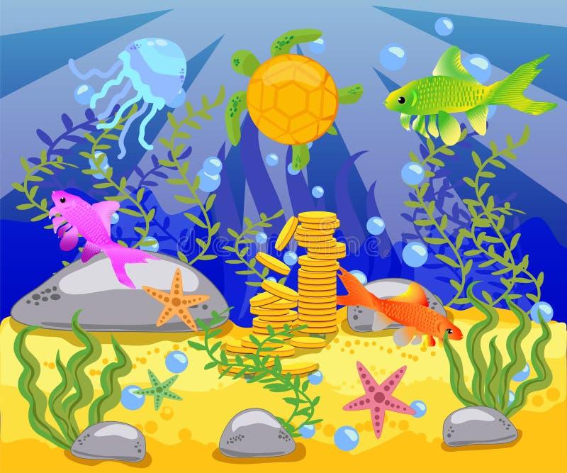 La beauté de la vie sous-marine avec différents animaux et habitats illustration stock