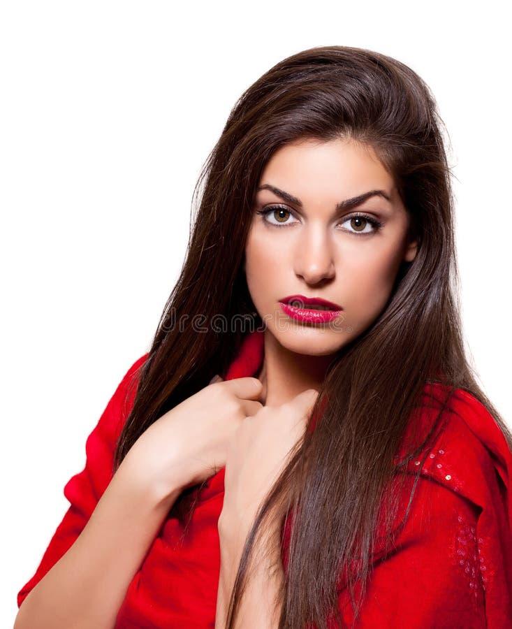 La beauté a tiré d'un jeune beau femme image stock