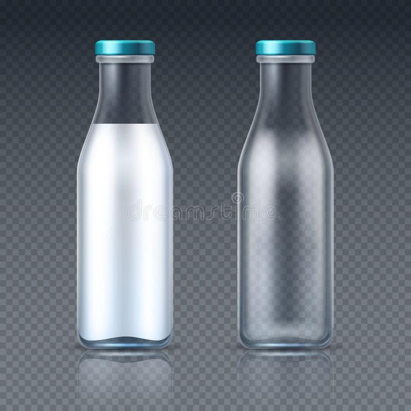 La bebida de cristal embotella vacío y con leche Maqueta de empaquetado del vector del producto lácteo stock de ilustración