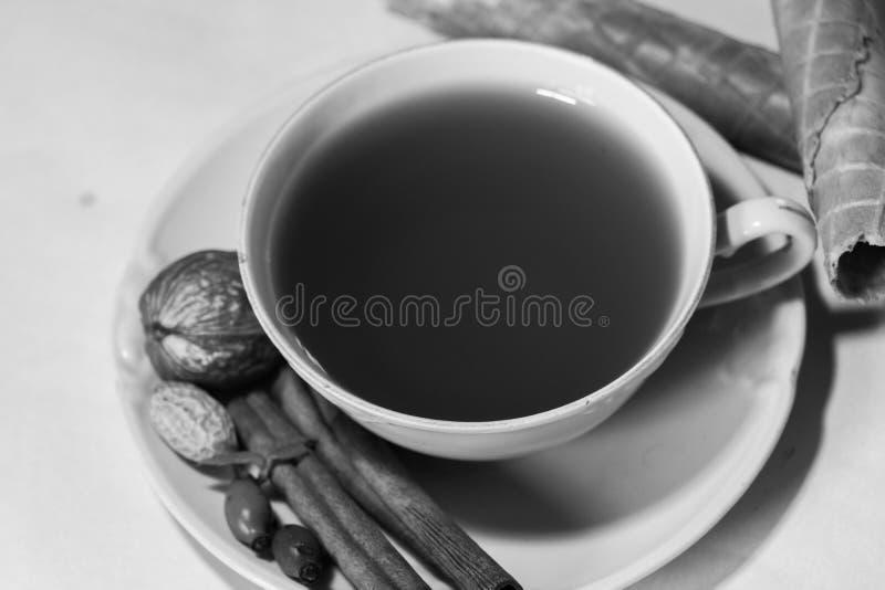 La bebida del otoño con las frutas reserva y calma humor fotos de archivo libres de regalías