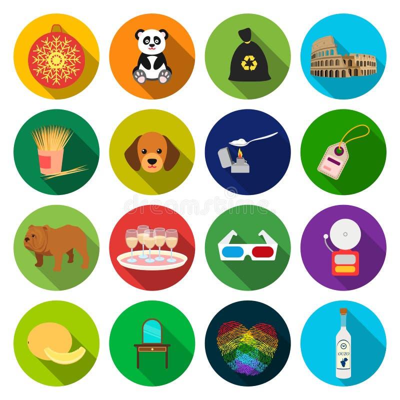 La bebida, el turismo, el negocio y el otro icono del web en estilo plano muebles, impresiones, iconos del corazón en la colecció stock de ilustración