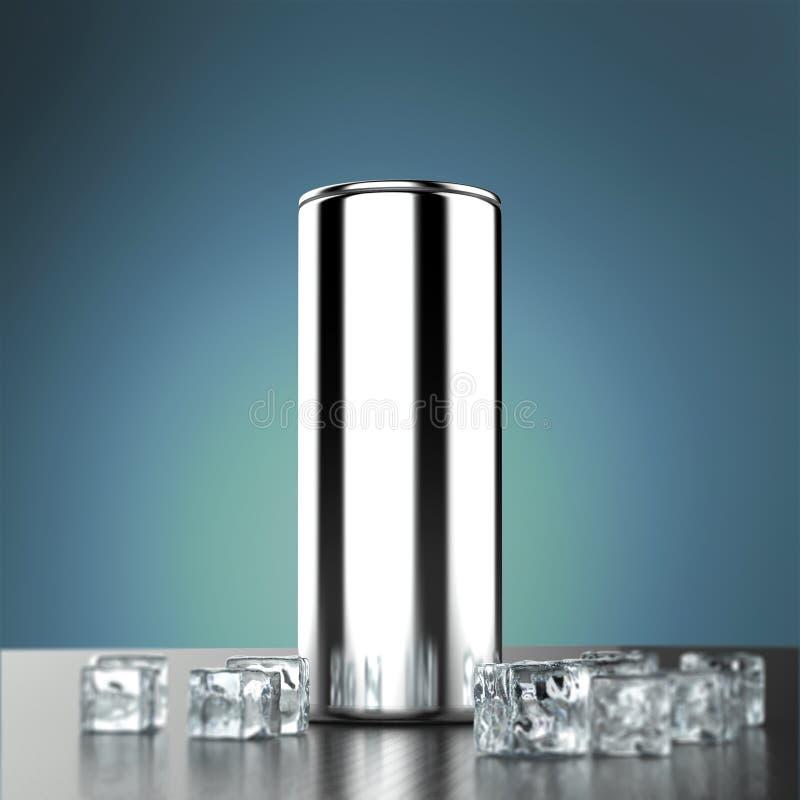 La bebida en blanco de la energía del metal plateado puede maqueta con los cubos de hielo que se colocan en el piso pulido 3d de  stock de ilustración