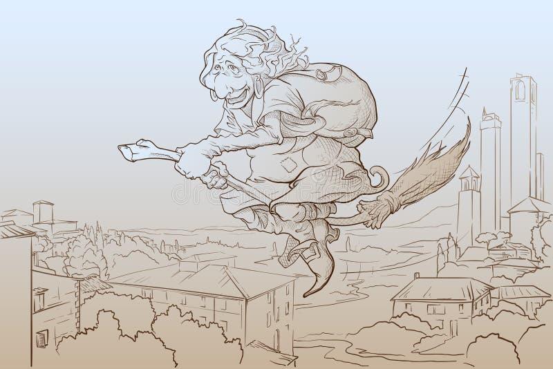 La Befana volant au-dessus du croquis de San Gimignano illustration stock