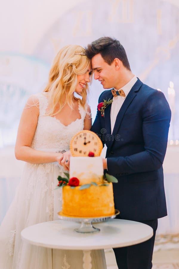 La bei sposa e sposo biondi hanno tagliato insieme la torta nunziale immagine stock