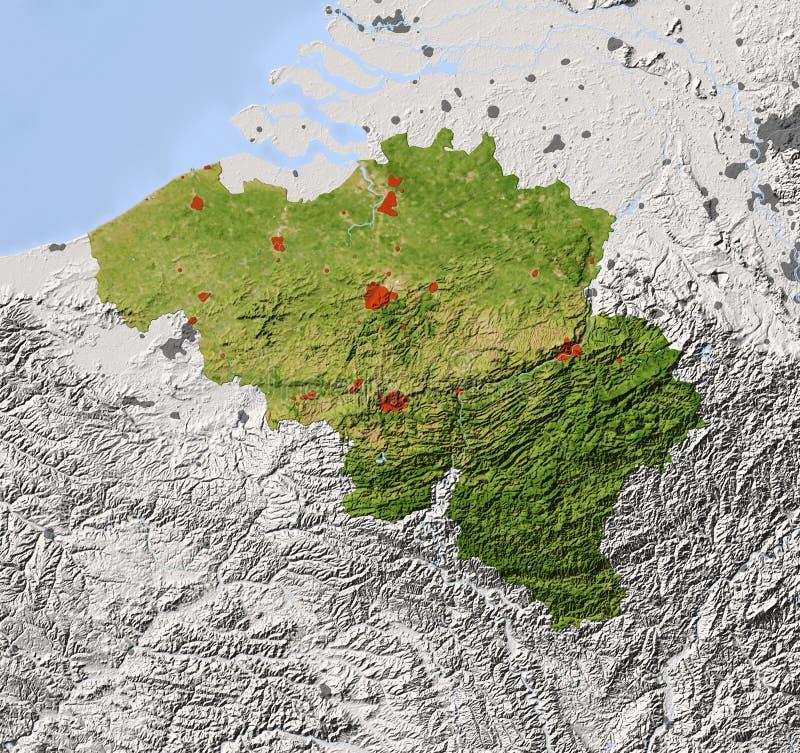 La Belgique, carte d'allégement ombragée illustration stock