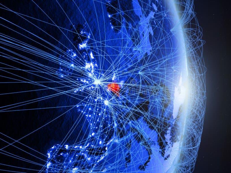 La Belgique sur la terre numérique bleue bleue photo libre de droits
