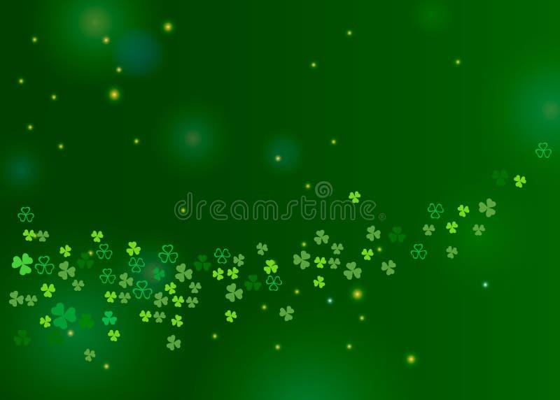 La bella acetosella del trifoglio lascia il fondo per progettazione del giorno del ` s di St Patrick illustrazione vettoriale