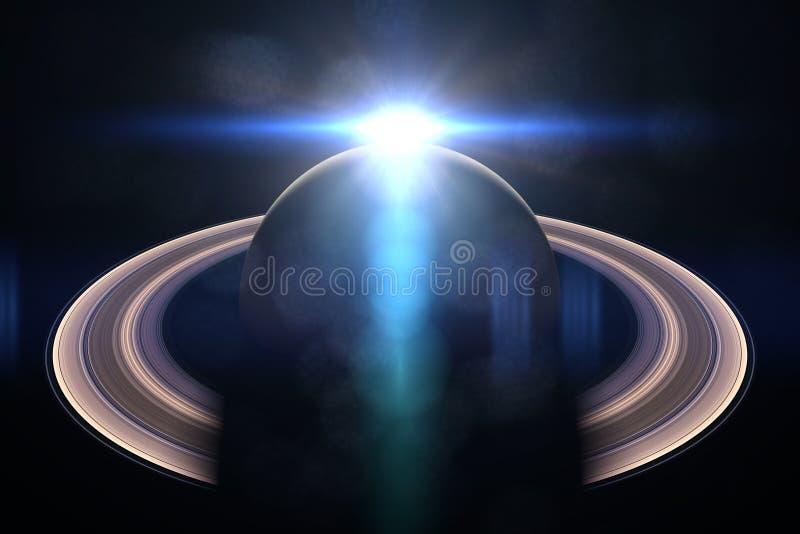 la bella alba sopra il pianeta Saturn, elementi di questa immagine è fornita dalla NASA royalty illustrazione gratis