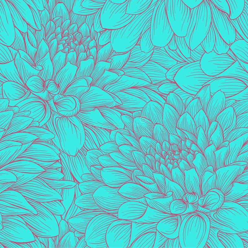 La bella annata monocromatica colora la dalia senza cuciture del fondo disegnata a mano Progetti per le cartoline d'auguri e gli  illustrazione vettoriale