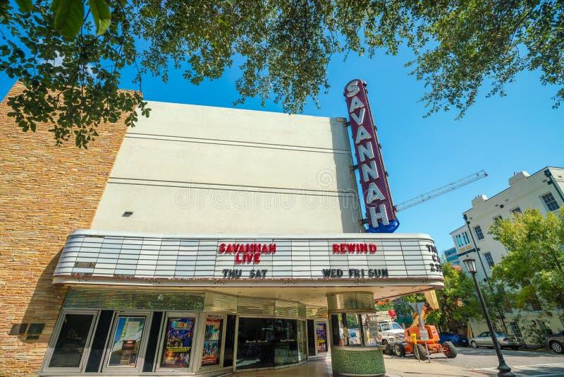 La bella architettura di Savannah Theatre fotografia stock