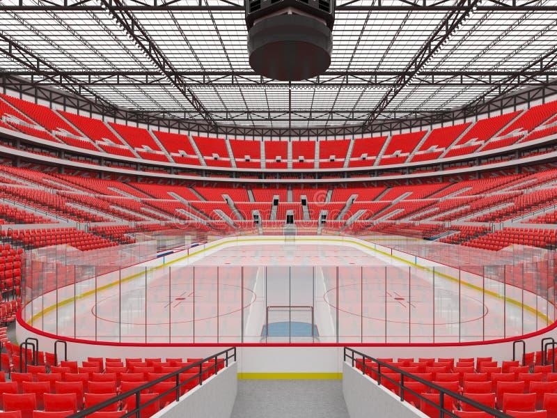 La bella arena di sport per hockey su ghiaccio con rosso mette le scatole a sedere di VIP - 3d rendono illustrazione vettoriale