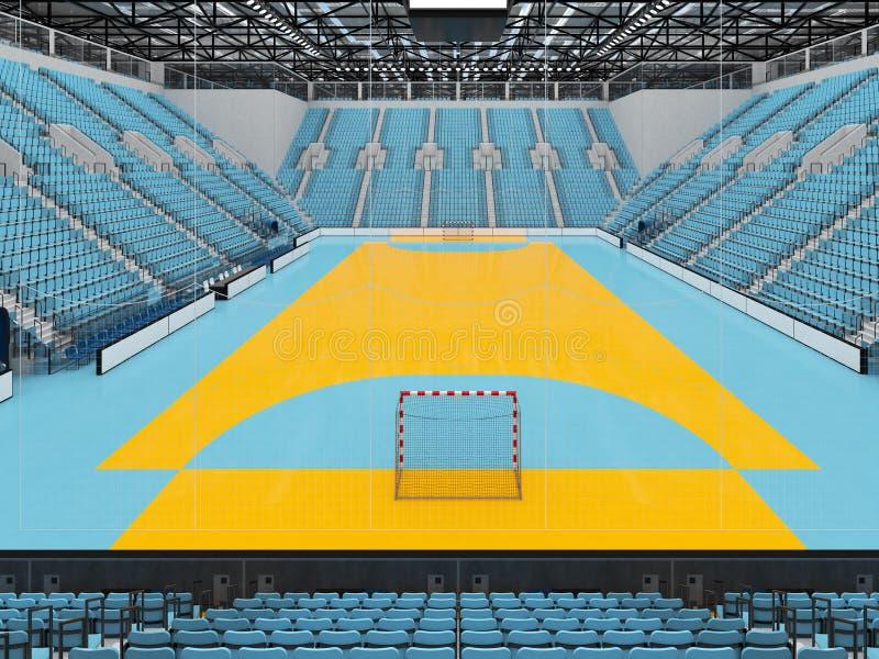La bella arena di sport per pallamano con i sedili degli azzurri e le scatole 3D di VIP rendono illustrazione vettoriale