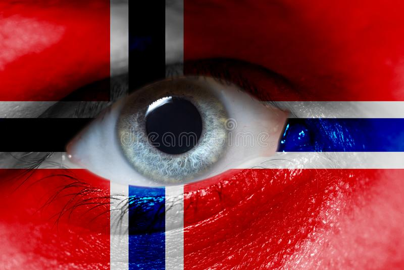 La bella bandiera della Norvegia sopra equipaggia il fronte fotografia stock